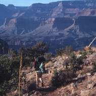 Backpacker on the Tonto Plateau.