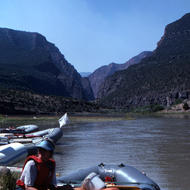 Rafts at put-in at the Gates of Lodore, Green River.