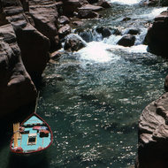 A Grand Canyon Dories boat tied up at the mouth of Havasu Creek.