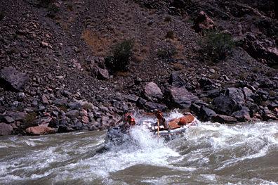 Thumbnail image ofA raft entering Hermit Rapid.