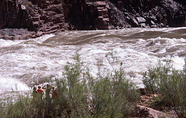 Thumbnail image ofPrivate river runners scouting Granite Rapid.