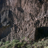 Volcanic formations on the banks of the Colorado River below Lava Falls.