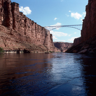 Approaching Navajo Bridge in Marble Gorge.