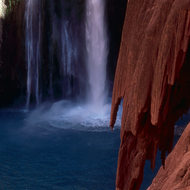 Mooney Falls in Havasu Canyon, on the Havasupai Indian Reservation.
