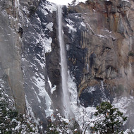 Close-up of Bridalveil Falls in Yosemite National Park in winter.