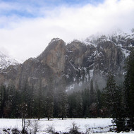 Yosemite Valley in winter, with Bridalveil Falls on the left edge.