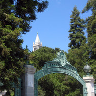 Sather Gate, with the Campanile in the background, UC Berkeley.
