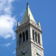 A close-up of the Campanile, UC Berkeley.