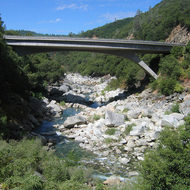 Modern bridge over the South Fork of the Yuba River.