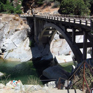 Historic bridge (no longer used for cars) over the South Fork of the Yuba River.
