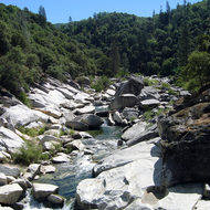 The South Fork of the Yuba River from the historic bridge.