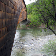A view alongside the covered bridge at Bridgeport, South Yuba River State Park.