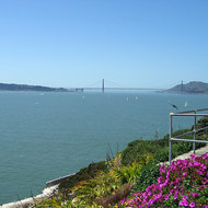 A view of the Golden Gate Bridge from Alcatraz.