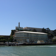 Pulling into the dock at Alcatraz.