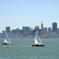 Sailboats and San Francisco from the bay.