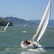 Sailboats and part of Alcatraz.