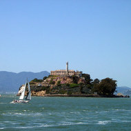 Sailboats near Alcatraz.