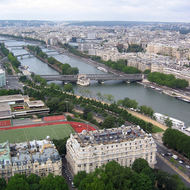 A view from the lower part of the Eiffel Tower south along the Seine.