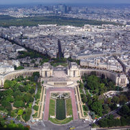 A view from the top of the Eiffel Tower of the Trocadero.