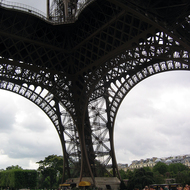 Beneath the Eiffel Tower.