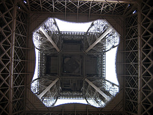 Thumbnail image of Beneath the Eiffel Tower, looking straight up.