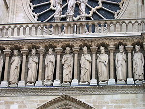Thumbnail image of Statues of saints on the facade of the Notre Dame...