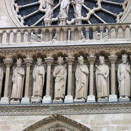 Statues of saints on the facade of the Notre Dame Cathedral.