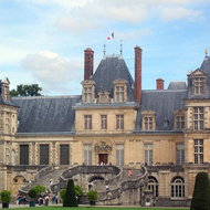The main entry to the Fontainebleau Chateau outside of Paris.