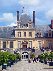 Thumbnail image of The main entry to the Fontainebleau Chateau outside...