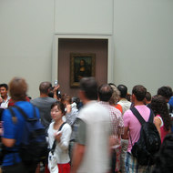 The Mona Lisa in the Louvre.