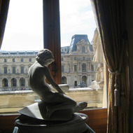 A view of the Louvre from inside, with sculpture.