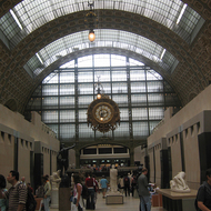 An interior view of the Orsay Museum, a former train station.