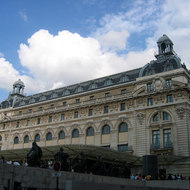 The front of the Orsay Museum, a former train station.