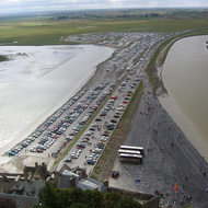 A view of the causeway from Mont Saint Michel.