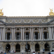 An exterior view of the Paris Opera Garnier.