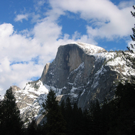 Half Dome in winter.