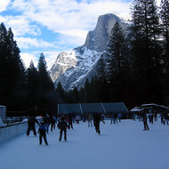 A view of Half Dome from the ice skating rink at Camp Curry.