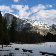 A view of Half Dome from the meadow near the Ahwahnee Hotel.