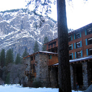An exterior view of the Ahwahnee Hotel.
