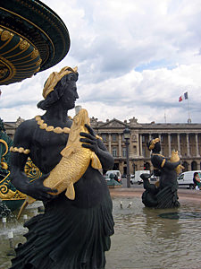 Thumbnail image ofA fountain (not running) at the Place de Concorde.
