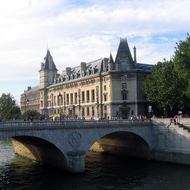 The Pont au Change bridge across the Seine at the Ile de Cite.