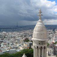 A view of Paris from the Basilica of Sacr� C ur, with the Eiffel Tower.