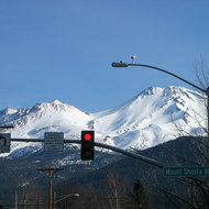 Mt. Shasta from downtown Mt. Shasta City (7 March 2005).
