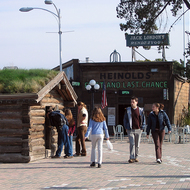 Jack London's Klondike cabin and Heinold's First and Last Chance Saloon at Jack London Square, Oakland, CA.