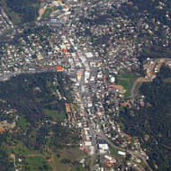 An aerial view of Sonora, California taken from a commercial jet.