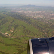 An aerial view of the San Francisco Bay Area east bay hills, looking toward Mount Diablo.