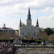 A view of Jackson Square from the Mississippi River.