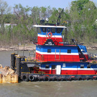 A Mississippi River towboat at work.