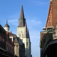Looking down a street to the St. Louis Cathedral; the Cabildo is on the left just on this side.