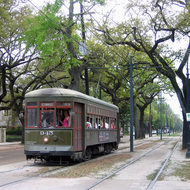 The St. Charles Streetcar in the Garden District.